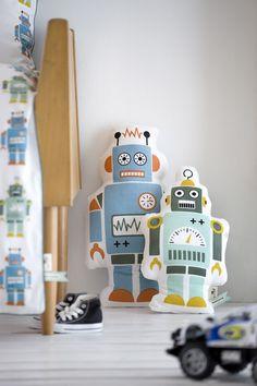 FERM LIVING MR ROBOT ORGANIC COTTON CHILDRENS CUSHION