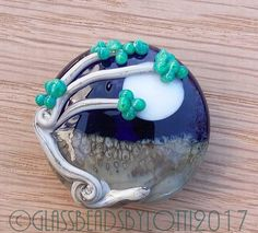 Lampwork glass lentil focal bead 'Windy tree on a full