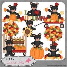 RESELLER Autumn Bears 3 - Art by Leah Rae Clip Art : Art by Leah Rae, Clip Art, Digi Stamps, Teaching Resources and Digi Scrap Graphics