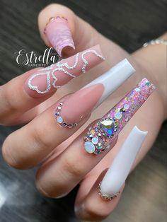Acrylic Nails Coffin Pink, Square Acrylic Nails, Summer Acrylic Nails, Coffin Nail, Cute Acrylic Nail Designs, Long Nail Designs, Nail Art Designs, Bling Nails, Swag Nails