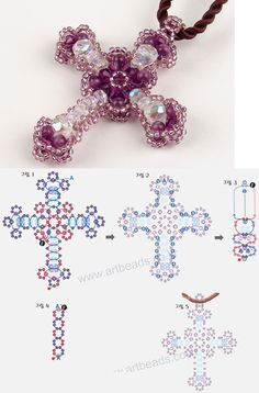 beaded earrings making Beading Patterns Free, Seed Bead Patterns, Beading Tutorials, Bead Crafts, Jewelry Crafts, Beaded Necklace Patterns, Beaded Cross, Seed Bead Jewelry, How To Make Beads