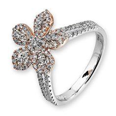 Diamantring Blüte, Rotgold und Weißgold 750, 110 Diamanten