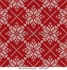 Christmas Holiday Knitting Seamless Pattern with Snowflakes. Knitted Sweater Design