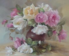 by Jill Kirstein♥ Art Floral, Time Painting, China Painting, Still Life Flowers, Rose Art, Vintage Flowers, Watercolor Flowers, Flower Art, Flower Arrangements