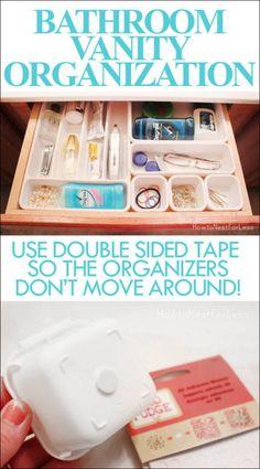 Bathroom Vanity Organization using kitchen utensil organizers. So easy!