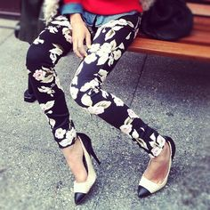 Floral pants; pop of red and chambray