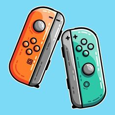 An orange and a turquoise game controller design. Where you can buy online. Star Citizen, Game Controller, Nintendo Wii Controller, Control Nintendo, Computer Gaming Room, Video Game Decor, Dragon Ball, Homemade Stickers, Stencil Painting