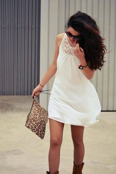 white dress + brown boots + sunnies + hair