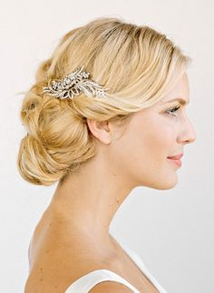 Pretty bridal updo accented with a silver leaf hair pin #wedding #hairstyle Bridal Hair Updo, Bridal Hair And Makeup, Bridal Headpieces, Bridal Comb, Headpiece Wedding, Wedding Updo, Wedding Upstyles, Desi Wedding, Wedding Wishes