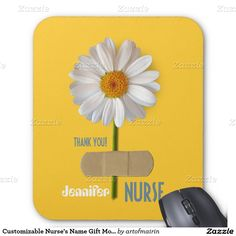Thank you, Nurse. Nurses Day / Nurses Week / Graduation from Nursing School / Any occasion Gift Mousepads for nurses with customizable name . Matching card, postage stamp and other products available in the Business Related Holidays / Nurses Day Category of the artofmairin store at zazzle.com