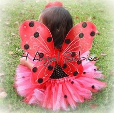 Hand Painted Butterfly Style Red Lady Bug Wings Great for Birthdays, Photo Shoots, and Disney Trips