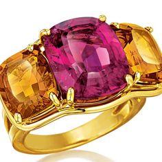Verdura   rubellite, madeira citrine and gold,    RINGS   GEMSTONE   Three Stone Ring