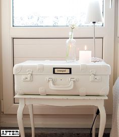 Vintage suitcase transformed into a table. LOVE this idea for our bedside and for the living room.