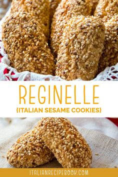"""These sweet Reginelle Cookies, also known as Italian sesame seed cookies or Regina Cookies (""""Biscotti Regina"""" in Italian), originated in Palermo but are found all around Sicily. This recipe ensures you are making authentic Sicilian Sesame Cookies. Italian Sesame Seed Cookies, Sesame Cookies, Italian Cookies, Italian Recipe Book, Italian Bread Recipes, Sicilian Recipes, Classic Italian Dishes, Savory Pastry, Healthy Cookies"""