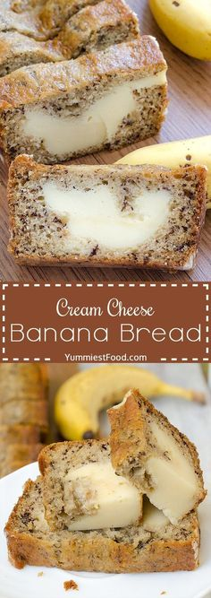 Cream Cheese Banana Bread – light, moist and delicious! Cream Cheese Banana Brea… Cream Cheese Banana Bread – light, moist and delicious! Cream Cheese Banana Bread – one of the best breads you will ever make! Perfect for breakfast, snack and dessert! Brownie Desserts, Just Desserts, Delicious Desserts, Yummy Food, Desserts With Bananas, Light Desserts, Yummy Snacks, Coconut Dessert, Oreo Dessert