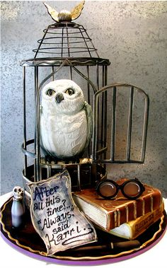 A Harry Potter cake featuring Hedwig's cage by Rosebud Cakes.Everything is edible including the glasses, wand and polyjuice potion.