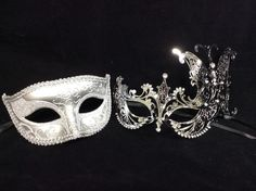 MATCHING COUPLE LOVER SILVER CHARMING & EXTRAVAGENT VENETIAN MASQUERADE MASK NEW
