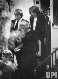 Ethel Kennedy, followed by Jacqueline Kennedy and other Kennedy family members, leaves Hickory Hill, the Kennedy Home in MCLean, VA, on April 27, 1984, following funeral services for Mrs. Ethel Kennedy's son David, 28. He was found dead on April 25, 1984 In a Florida hotel, as the result of a drug overdose. (UPI Photo/Gary Fine/Files)