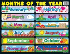 Use a classroom chart to help students master the months of the year. The Months of the Year chartlet measures x and features all 12 months. You can display this chart for students anywhere in your learning environment for a year-round reference. Charts For Classroom Decoration, Classroom Charts, Classroom Bulletin Boards, Classroom Rules, Classroom Language, Elementary Bulletin Boards, Birthday Bulletin Boards, Preschool Calendar, Classroom Calendar
