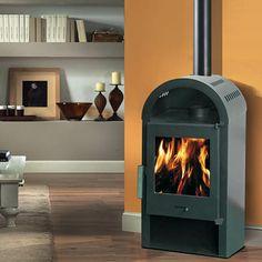 Stufa a legna corpo in ghisa potenza 5 Kw, volume riscaldabile m³ 80, diam. uscita fumi cm 12, peso 70 kg, cm 39,3x28xH.88