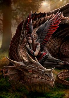 Winged Companions by Anne Stokes   Look familiar Rob?