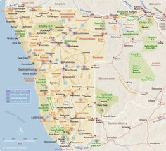 Map of Namibia Tourist Destinations - Camping, and traveling. Planning Maps, Trip Planning, Land Of The Brave, African Holidays, Area Map, Travel Route, Vacation Packing, Africa Travel, Namibia Travel