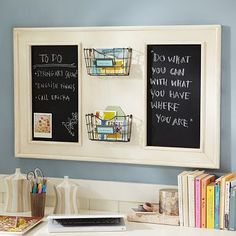 I love the Vintage Chalkboard Organizer on pbteen.com  Maybe would be easy to replicate on the cheap.