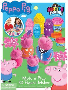Available in: Item.Cra-Z-Art Softee dough - Super soft modeling compound. Make 10 peppa Pig Dough Figures! Includes: Mold & Play 3 D Figure All Toys, Toys For Boys, Kids Toys, Pig Character, Z Arts, Making 10, Craft Kits, Craft Stores, Little Ones