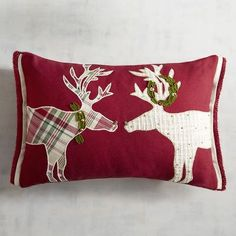 Kissing Reindeer Lumbar Pillow | Pier 1 Imports