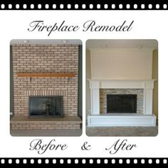 Image result for fireplace mantel to cover brick