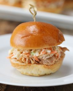 Slow Cooker Pulled Chicken Apple Sliders
