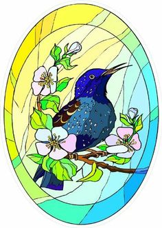 Stonehatch Bird Perched On A Branch Etched Vinyl Stained Glass - Window decals for bird protection