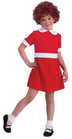 Annie Child Costume This costume includes a classic red and white character dress. Does not include wig, socks or shoes. This is an officially licensed Annie product. Weight (lbs) 0.41 Length (inches)