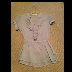 Forever 21 Blouse Lightly stripped baby blue vneck work blouse, worn once. OFFERS ACCEPTED. Forever 21 Tops Blouses