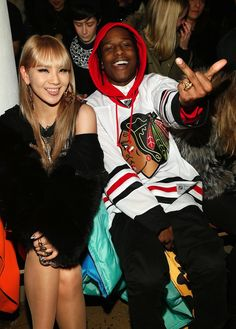 A$AP ROCKY and CL from 2NE1 at Jeremy Scott's fashion week runway show. This is as dope as the wrld gets for me.