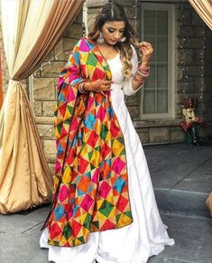 Designer dresses indian - Silk long white gown full flaired floor length custom made dress with punjabi fulkari phulkari dupatta indian womens party wear dresses – Designer dresses indian Kurta Designs, Lehenga Designs, Kurti Designs Party Wear, Dress Designs, Indian Party Wear, Indian Wedding Outfits, Pakistani Outfits, Indian Outfits, Indian Fashion Dresses