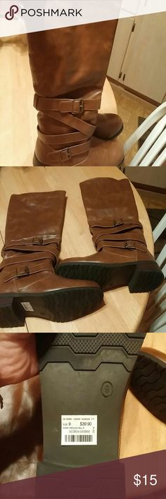 Very Cute Brown plether boots These boots are really cute they are slip on boots no zippers. They have a kind of a wrap strap going around the ankle. Of boots,  they are size 9 and the boot shaft fits a smaller to medium size calf,  rubber lug sole like new never worn, none Other