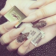 «#Laque #laquenailbar #getlaqued» Matte Nude with gold crystals stiletto nails