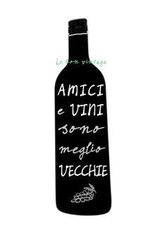 Italian quote wine bottle modern kitchen art by lebonvintage
