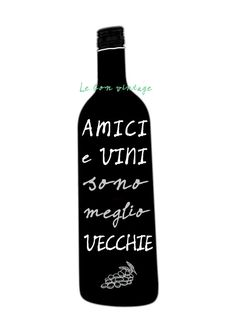 Italian quote wine bottle modern kitchen art by lebonvintage