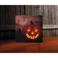 Halloween Wall Decor Lighted Jack-O-Lantern Pumpkin Moon