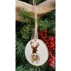 Monogram Ornament Deer Christmas Ornament Antler Ornament Rustic... ($12) ❤ liked on Polyvore featuring home, home decor, holiday decorations, dark olive, home & living, home décor, ornaments & accents, deer home decor, rustic christmas tree ornaments and deer christmas ornaments