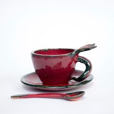 #Pomegranate #coffee cup #handmade with #plate by #PotterAsh on #Etsy