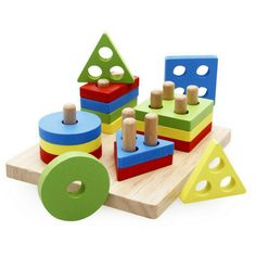 Rolimate Wooden Educational Preschool Shape Color Recognition Geometric Board Block Stack Sort Chunky Puzzle Toys, Birthday Gift Toy for age 3 4 5 Years Old and Up Kid Children Baby Toddler Boy Girl - Toys 4 My Kids Wooden Educational Toys, Educational Toys For Toddlers, Educational Toys For Kids, Puzzle Games For Kids, Puzzle Toys, Puzzles For Kids, Kids Blocks, Preschool Learning Toys, Montessori Toys