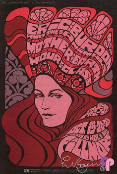 Eric Burdon and the Animals at Fillmore Auditorium, October 19-21, 1967. Poster by Bonnie MacLean