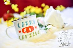 Carry On Camping Enamel Mug >> http://www.zebracathome.com/ #camping #mug #home #accessories #hearts