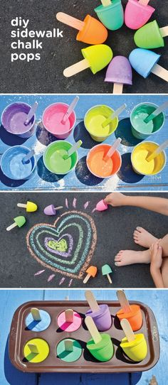 Make playing outdoors with your toddler fun and educational with these Sidewalk Chalk Pops. This easy DIY project can be a great use of your little one's fine motor skills and can let them express their creativity.