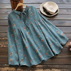 Floral Print Pleated Empire Waist Shirt is part of Kids fashion clothes - Frock Fashion, Hijab Fashion, Fashion Dresses, Fashion Clothes, Tunic Designs, Designs For Dresses, Stylish Dresses For Girls, Dresses Kids Girl, Mode Turban