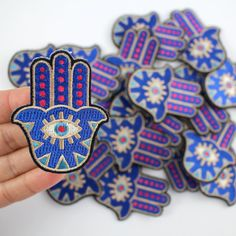 Hamsa Patch, Embroidered Patches, Gem, Iron On, Applique, Patchwork, Embroidery, Blue, Wildflower + Co. DIY