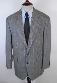 Chaps Ralph Lauren Blazer Sport Coat size 42R Houndstooth Plaid made in Canada #ChapsRalphLauren #TwoButton